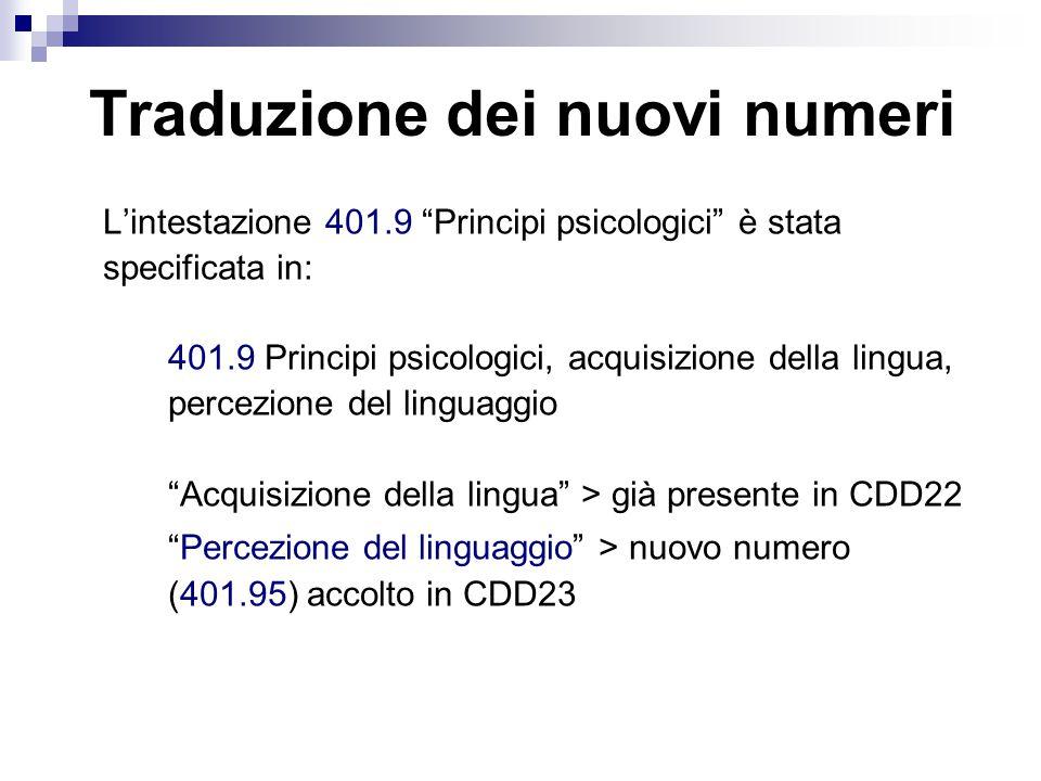 L'intestazione 401.9 Principi psicologici è stata specificata in: 401.9 Principi psicologici, acquisizione della lingua, percezione del linguaggio Acquisizione della lingua > già presente in CDD22 Percezione del linguaggio > nuovo numero (401.95) accolto in CDD23 Traduzione dei nuovi numeri