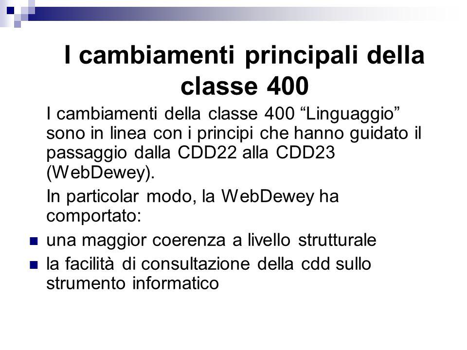 I cambiamenti della classe 400 Linguaggio sono in linea con i principi che hanno guidato il passaggio dalla CDD22 alla CDD23 (WebDewey).