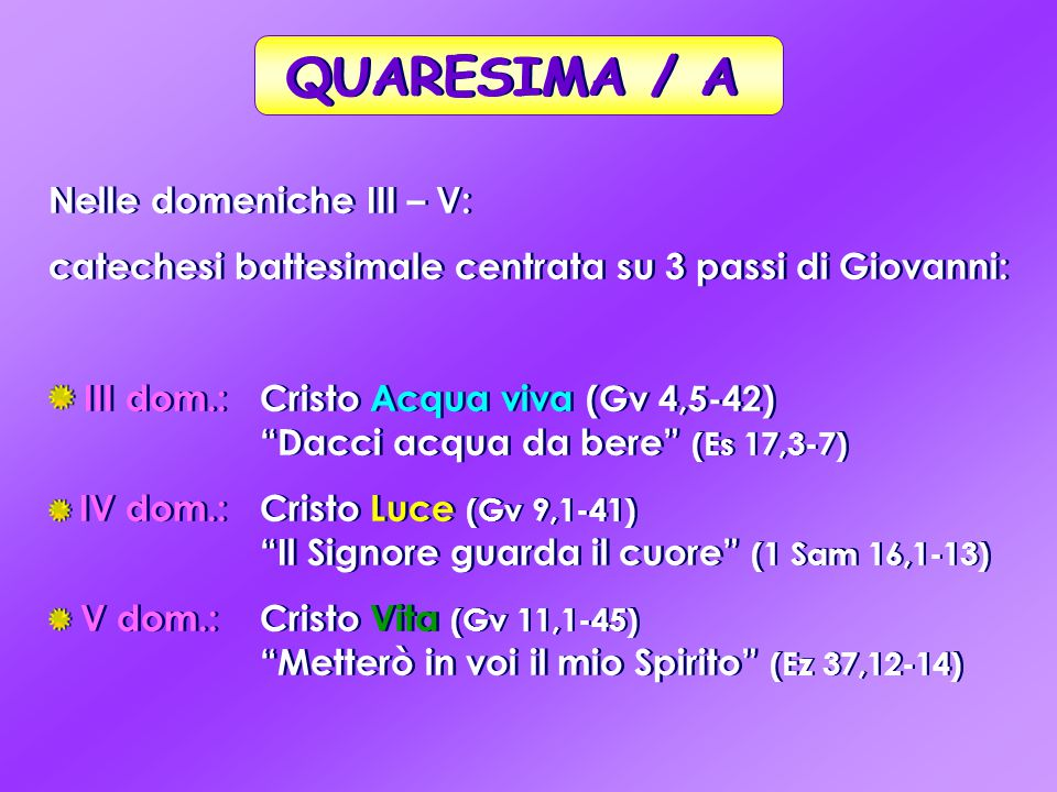 """Nelle domeniche III – V: catechesi battesimale centrata su 3 passi di Giovanni: III dom.: Cristo Acqua viva (Gv 4,5-42) """"Dacci acqua da bere"""" (Es 17,3"""