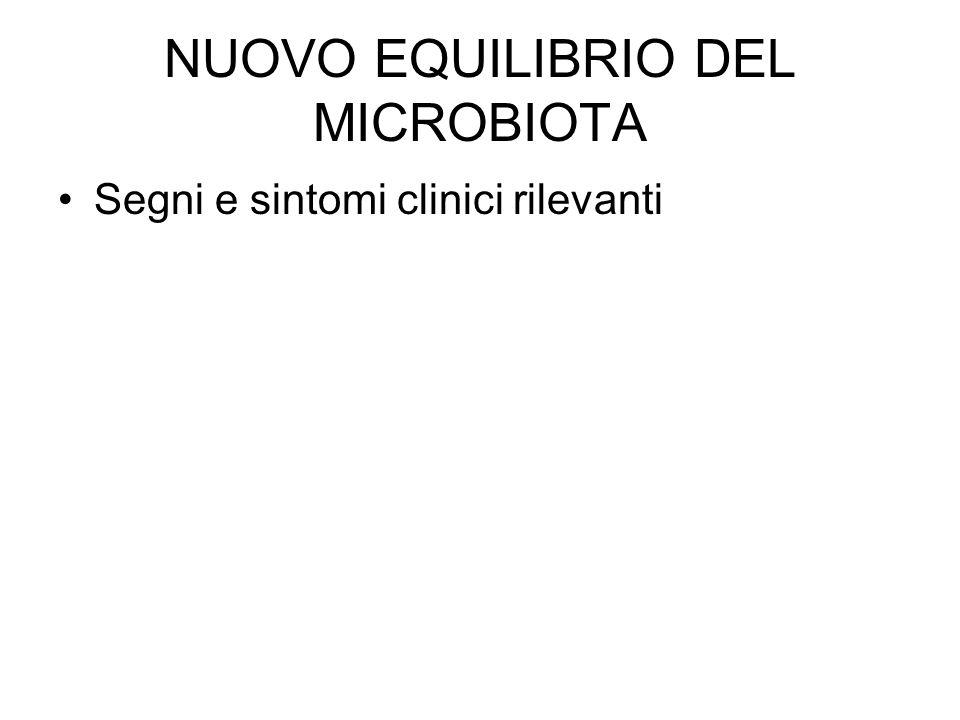 NUOVO EQUILIBRIO DEL MICROBIOTA Segni e sintomi clinici rilevanti