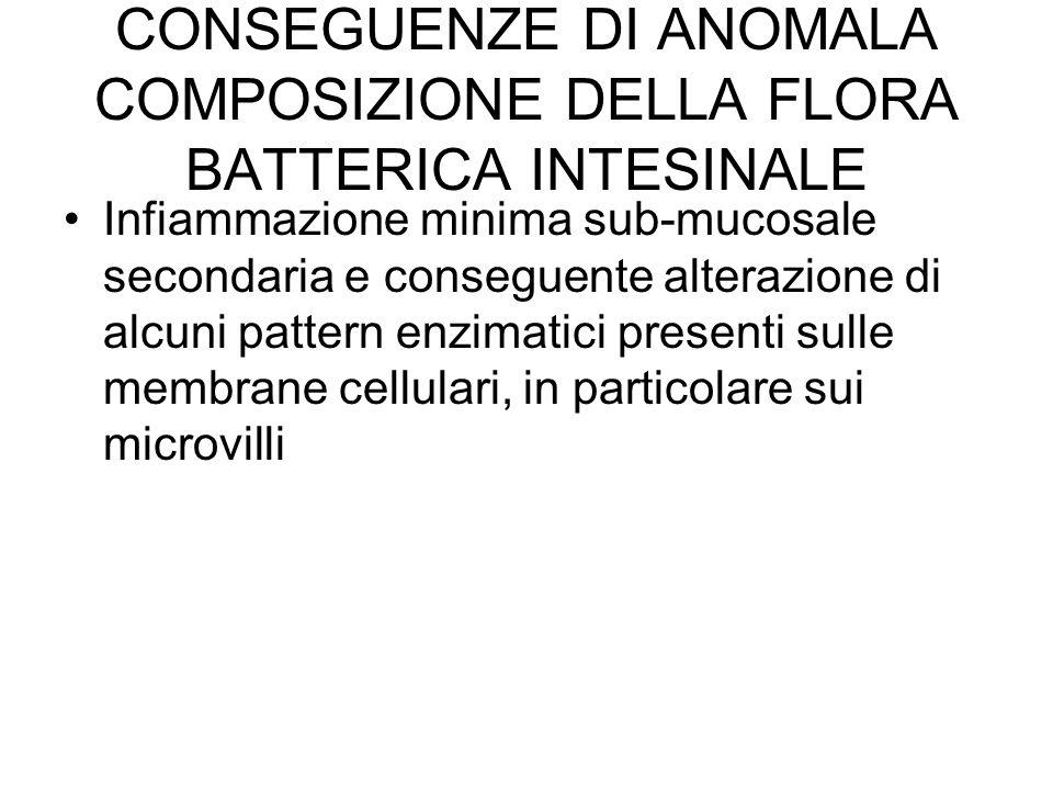 CONSEGUENZE DI ANOMALA COMPOSIZIONE DELLA FLORA BATTERICA INTESINALE Infiammazione minima sub-mucosale secondaria e conseguente alterazione di alcuni pattern enzimatici presenti sulle membrane cellulari, in particolare sui microvilli