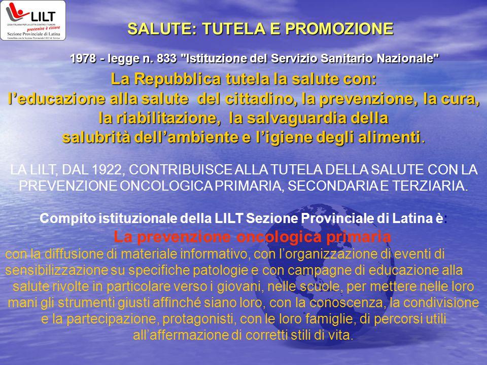 SALUTE: TUTELA E PROMOZIONE 1978 - legge n. 833