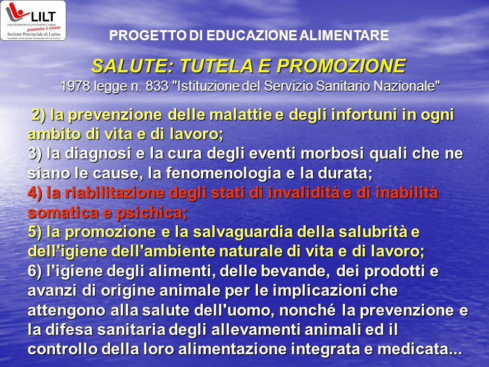 SALUTE: TUTELA E PROMOZIONE 1978 legge n. 833