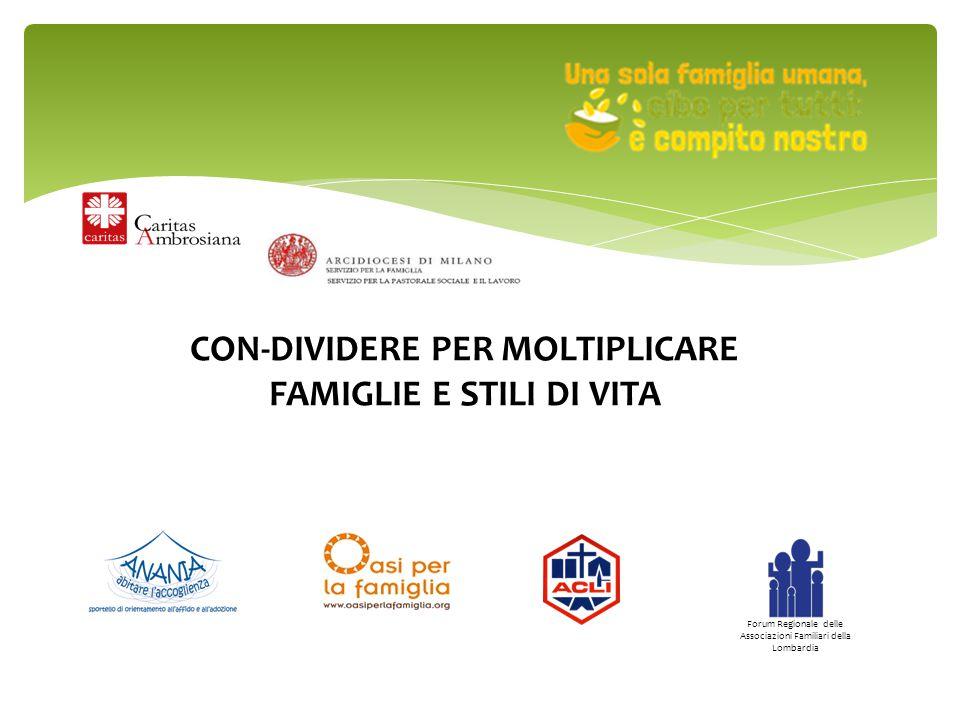 CON-DIVIDERE PER MOLTIPLICARE FAMIGLIE E STILI DI VITA Forum Regionale delle Associazioni Familiari della Lombardia