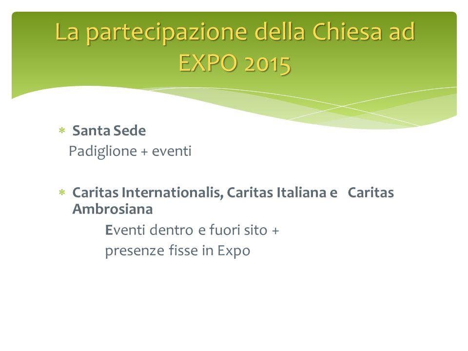  Santa Sede Padiglione + eventi  Caritas Internationalis, Caritas Italiana e Caritas Ambrosiana Eventi dentro e fuori sito + presenze fisse in Expo