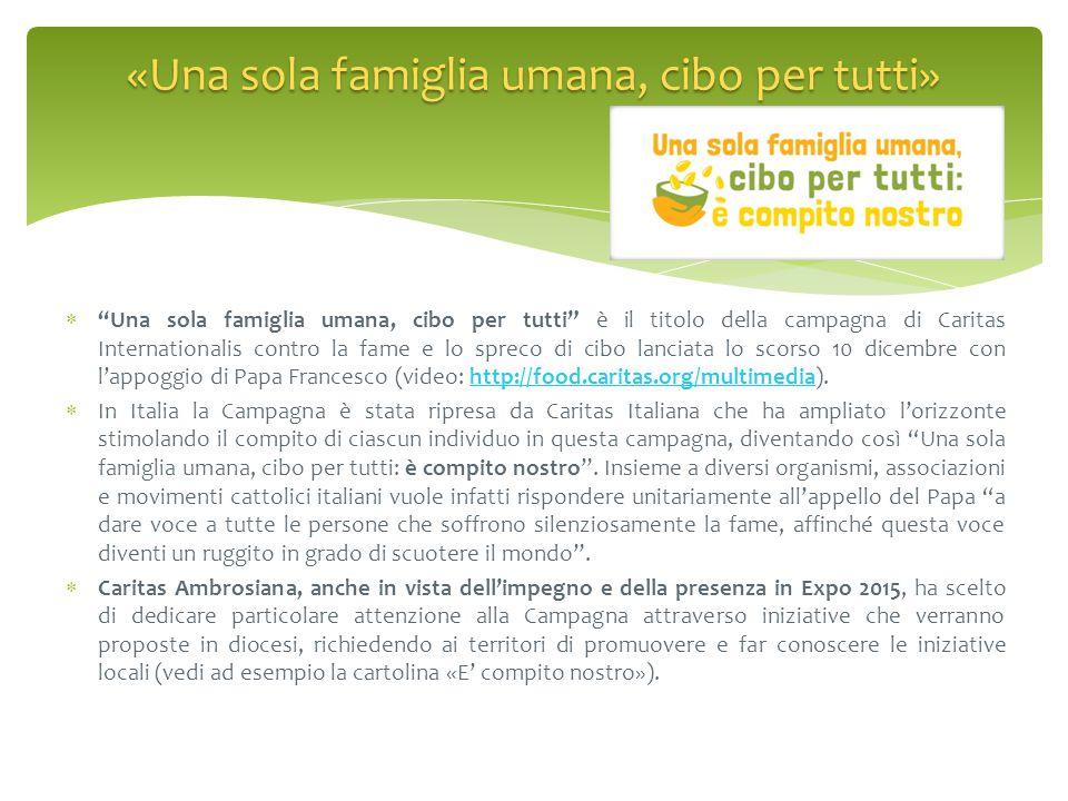 """ """"Una sola famiglia umana, cibo per tutti"""" è il titolo della campagna di Caritas Internationalis contro la fame e lo spreco di cibo lanciata lo scors"""