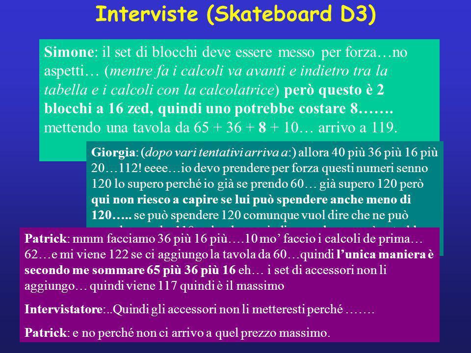 Interviste (Skateboard D3) Simone: il set di blocchi deve essere messo per forza…no aspetti… (mentre fa i calcoli va avanti e indietro tra la tabella e i calcoli con la calcolatrice) però questo è 2 blocchi a 16 zed, quindi uno potrebbe costare 8…….