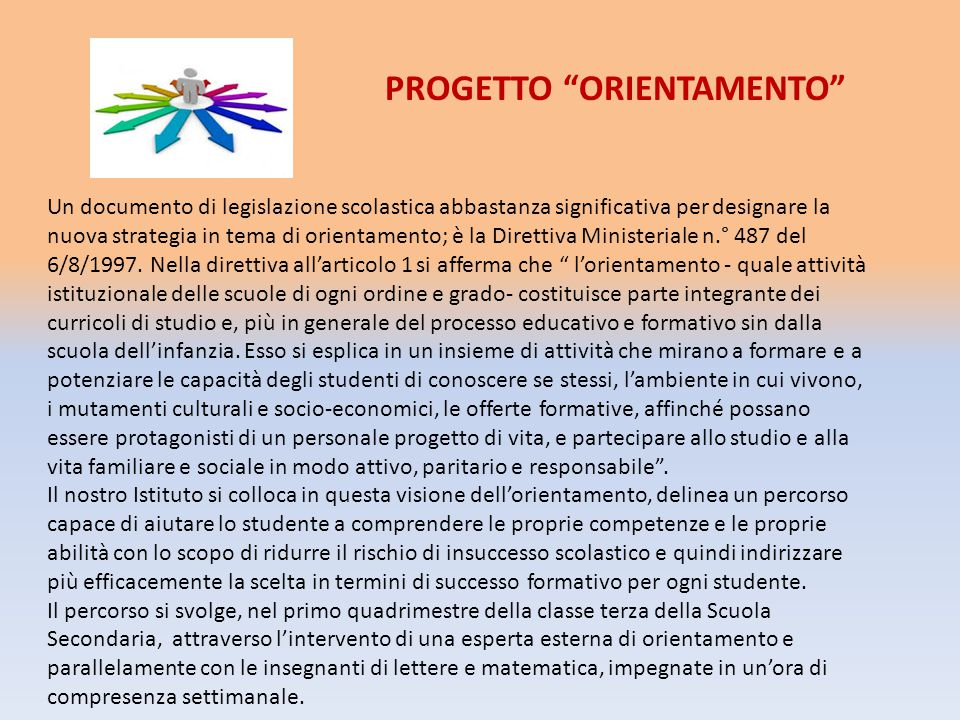 Un documento di legislazione scolastica abbastanza significativa per designare la nuova strategia in tema di orientamento; è la Direttiva Ministeriale n.° 487 del 6/8/1997.
