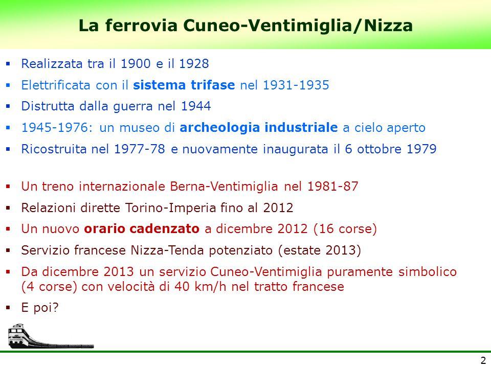 La ferrovia Cuneo-Ventimiglia/Nizza 2  Realizzata tra il 1900 e il 1928  Elettrificata con il sistema trifase nel 1931-1935  Distrutta dalla guerra