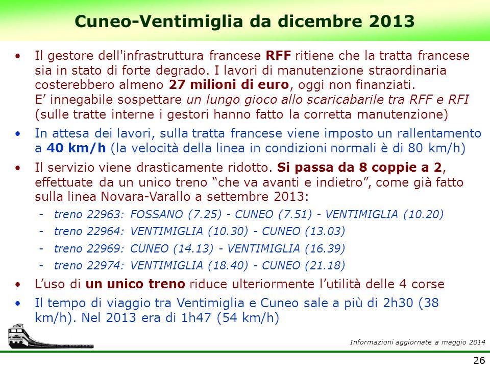 26 Cuneo-Ventimiglia da dicembre 2013 Il gestore dell'infrastruttura francese RFF ritiene che la tratta francese sia in stato di forte degrado. I lavo