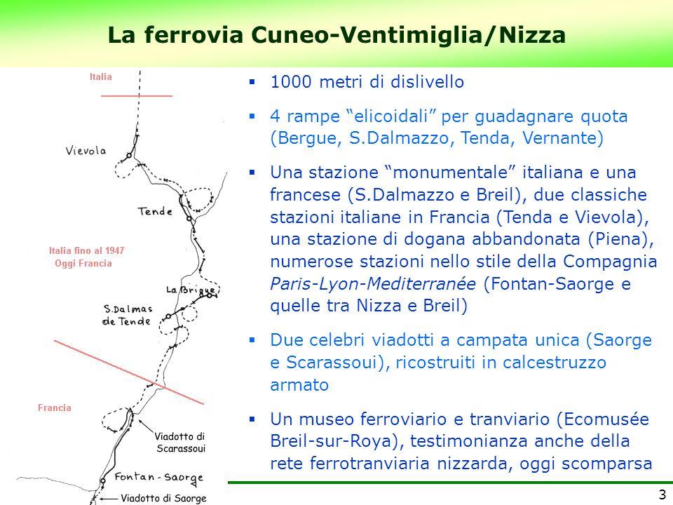 """La ferrovia Cuneo-Ventimiglia/Nizza 3  1000 metri di dislivello  4 rampe """"elicoidali"""" per guadagnare quota (Bergue, S.Dalmazzo, Tenda, Vernante)  U"""
