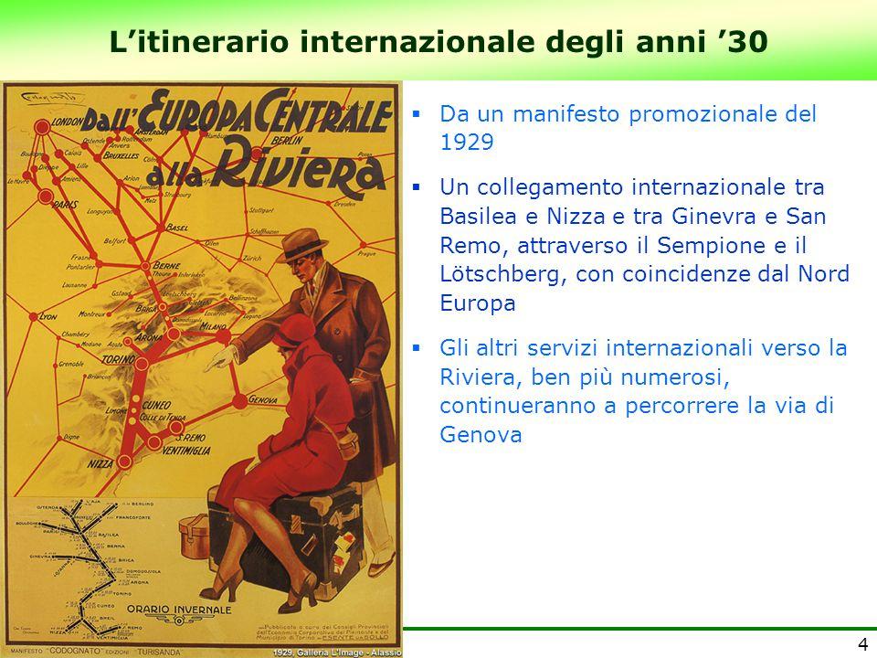 L'itinerario internazionale degli anni '30 4  Da un manifesto promozionale del 1929  Un collegamento internazionale tra Basilea e Nizza e tra Ginevr