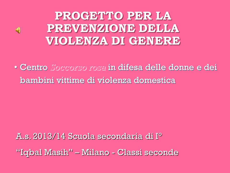 """PROGETTO PER LA PREVENZIONE DELLA VIOLENZA DI GENERE A.s. 2013/14 Scuola secondaria di I° """"Iqbal Masih"""" – Milano - Classi seconde Centro Soccorso rosa"""