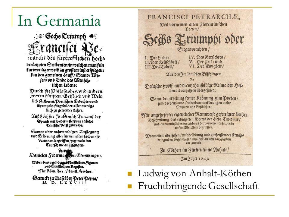 In Germania Ludwig von Anhalt-Köthen Fruchtbringende Gesellschaft