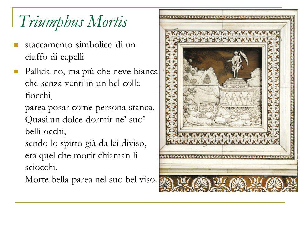 Triumphus Mortis staccamento simbolico di un ciuffo di capelli Pallida no, ma più che neve bianca che senza venti in un bel colle fiocchi, parea posar come persona stanca.