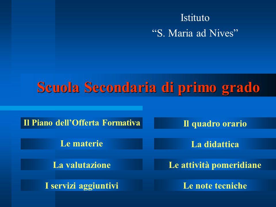 """Scuola Secondaria di primo grado Istituto """"S. Maria ad Nives"""" Il Piano dell'Offerta Formativa Le materie La valutazione I servizi aggiuntivi Il quadro"""