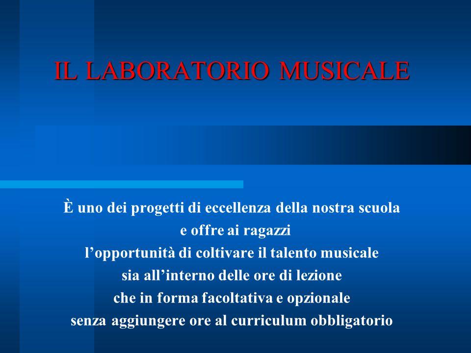 IL LABORATORIO MUSICALE È uno dei progetti di eccellenza della nostra scuola e offre ai ragazzi l'opportunità di coltivare il talento musicale sia all
