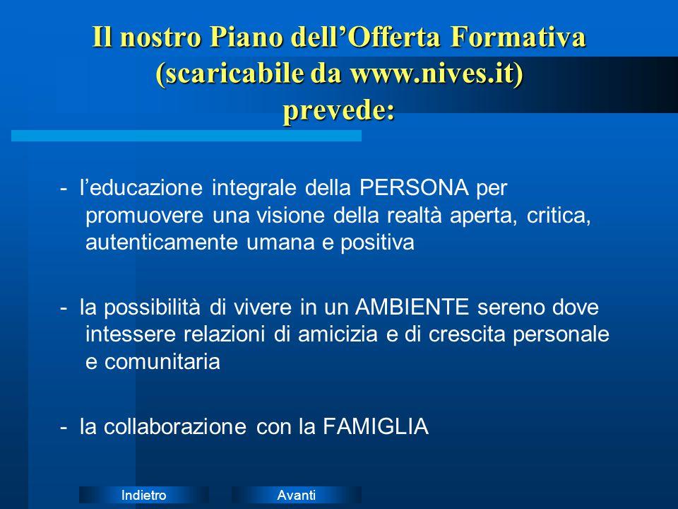 AvantiIndietro Il nostro Piano dell'Offerta Formativa (scaricabile da www.nives.it) prevede: - l'educazione integrale della PERSONA per promuovere una