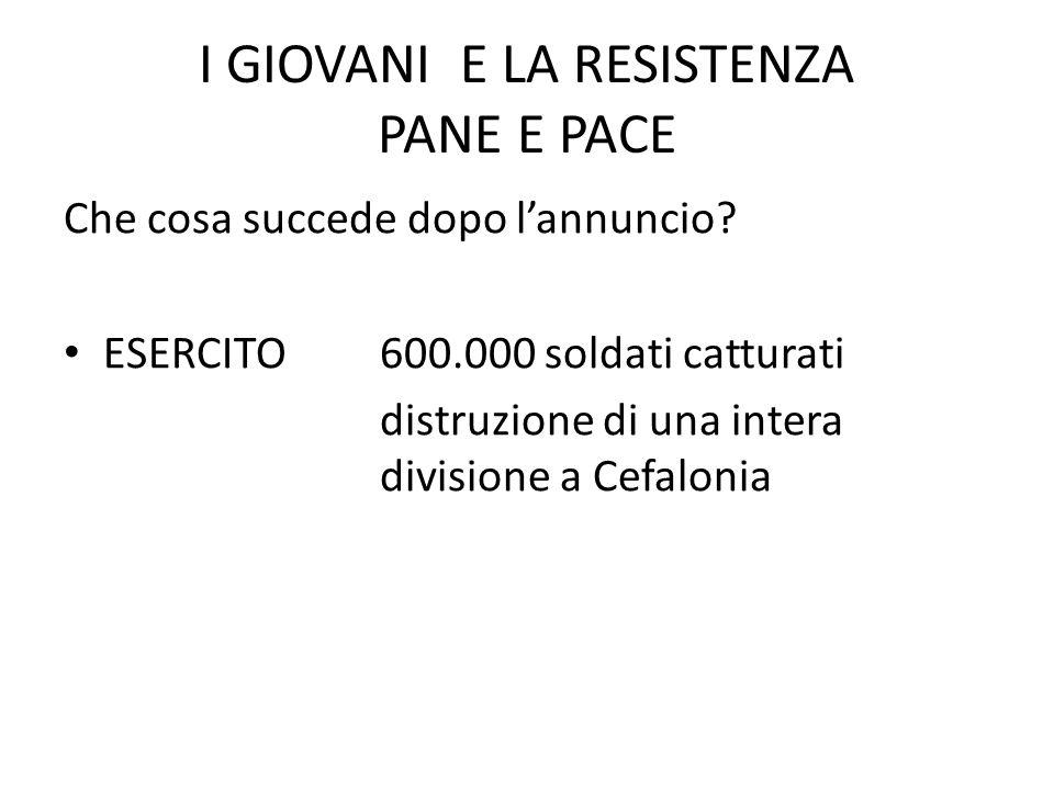 I GIOVANI E LA RESISTENZA PANE E PACE Che cosa succede dopo l'annuncio.