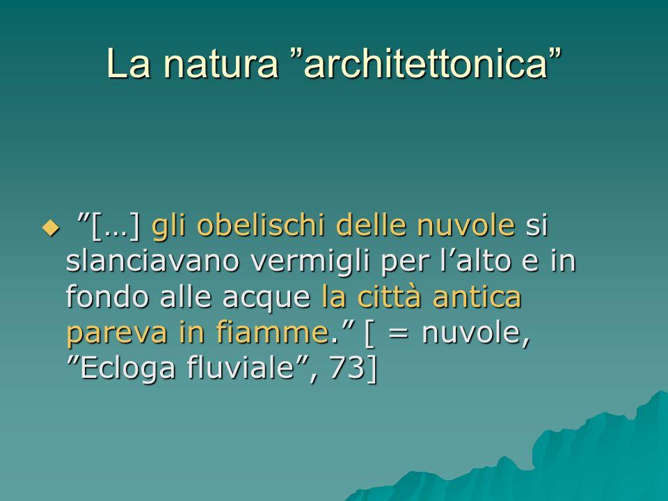 I topoi  Elementi architettonici – piazze, edifici, vie…  Elementi di natura: –nuvole, sole, alberi…  Scomparsa della città  Predominio della natura