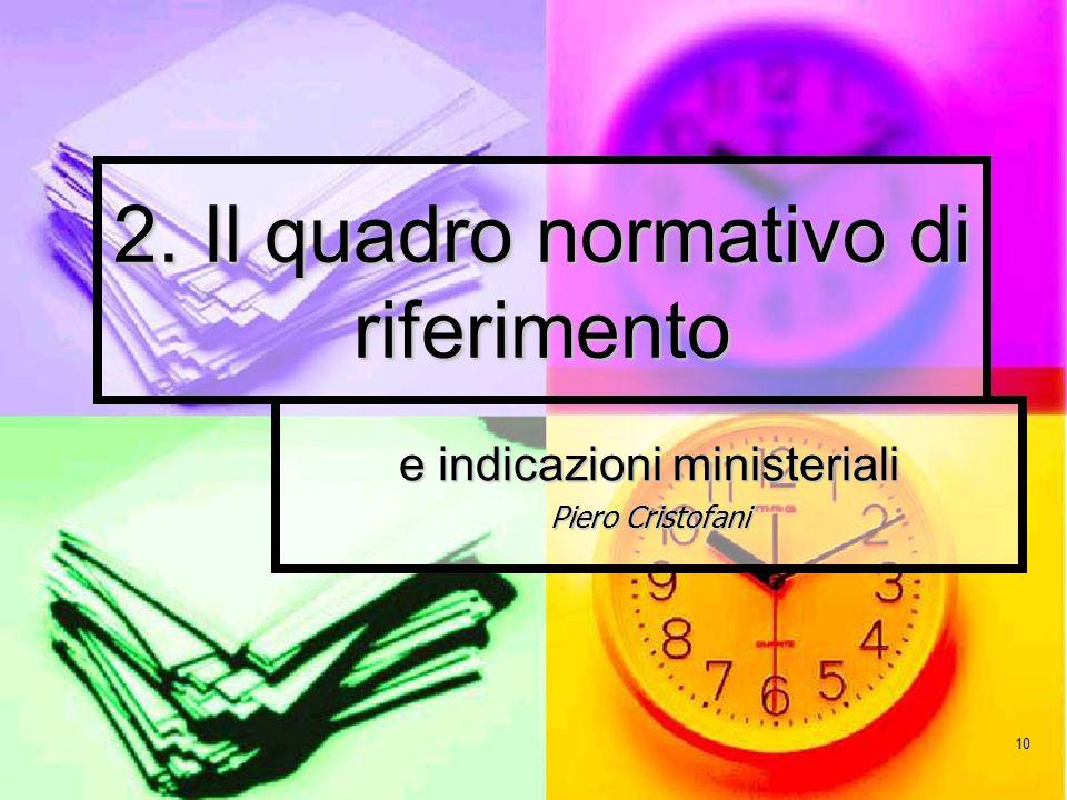 10 2. Il quadro normativo di riferimento e indicazioni ministeriali Piero Cristofani