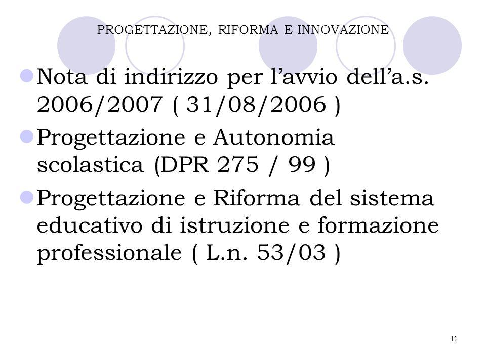 11 PROGETTAZIONE, RIFORMA E INNOVAZIONE Nota di indirizzo per l'avvio dell'a.s. 2006/2007 ( 31/08/2006 ) Progettazione e Autonomia scolastica (DPR 275