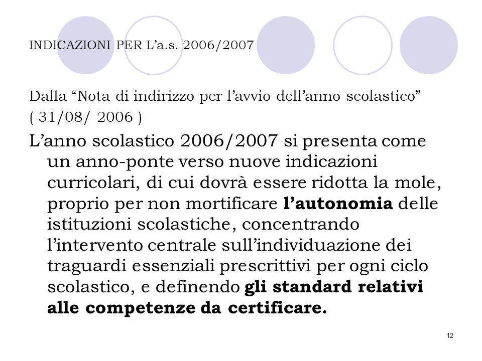 """12 INDICAZIONI PER L'a.s. 2006/2007 Dalla """"Nota di indirizzo per l'avvio dell'anno scolastico"""" ( 31/08/ 2006 ) L'anno scolastico 2006/2007 si presenta"""
