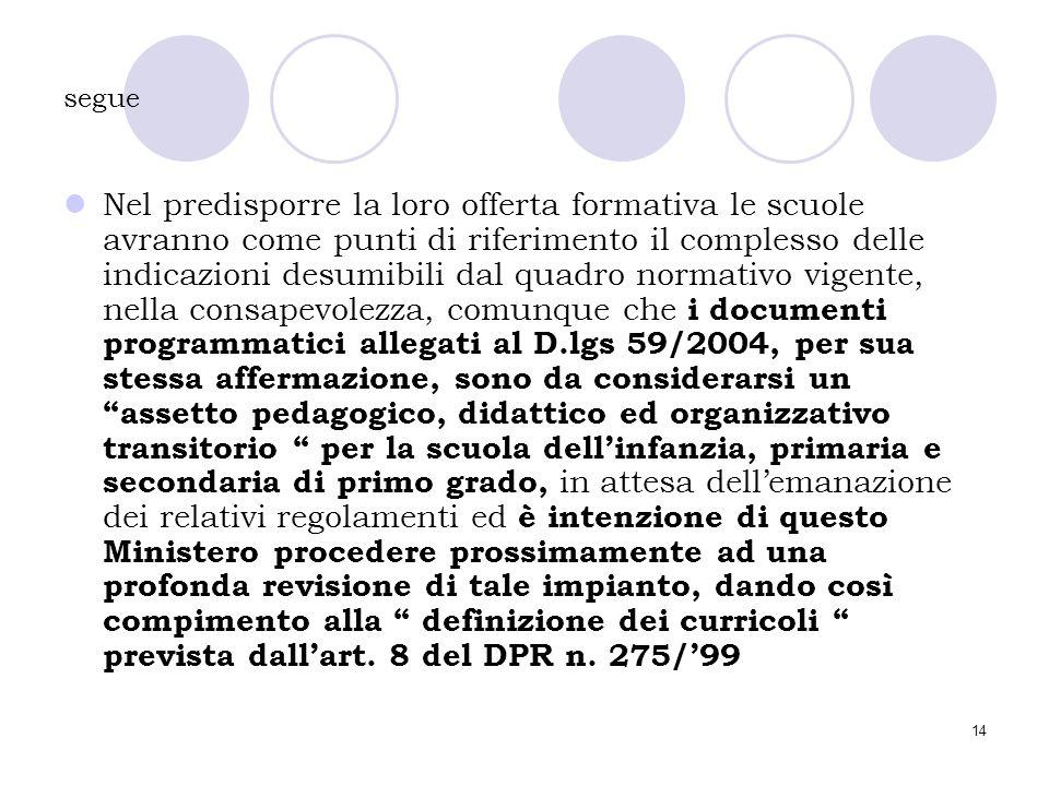 14 segue Nel predisporre la loro offerta formativa le scuole avranno come punti di riferimento il complesso delle indicazioni desumibili dal quadro no