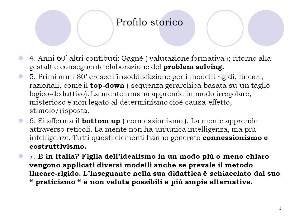 3 Profilo storico 4. Anni 60' altri contibuti: Gagnè ( valutazione formativa ); ritorno alla gestalt e conseguente elaborazione del problem solving. 5