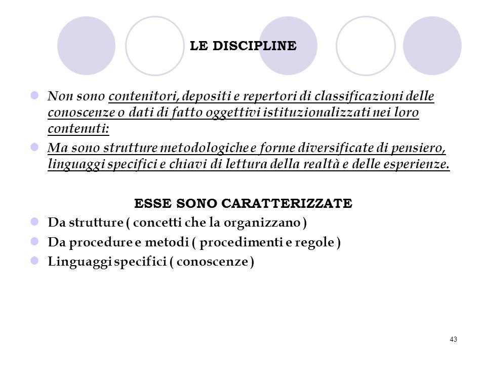 43 LE DISCIPLINE Non sono contenitori, depositi e repertori di classificazioni delle conoscenze o dati di fatto oggettivi istituzionalizzati nei loro