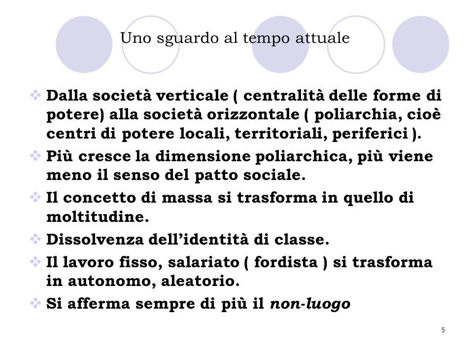 5 Uno sguardo al tempo attuale  Dalla società verticale ( centralità delle forme di potere) alla società orizzontale ( poliarchia, cioè centri di pot