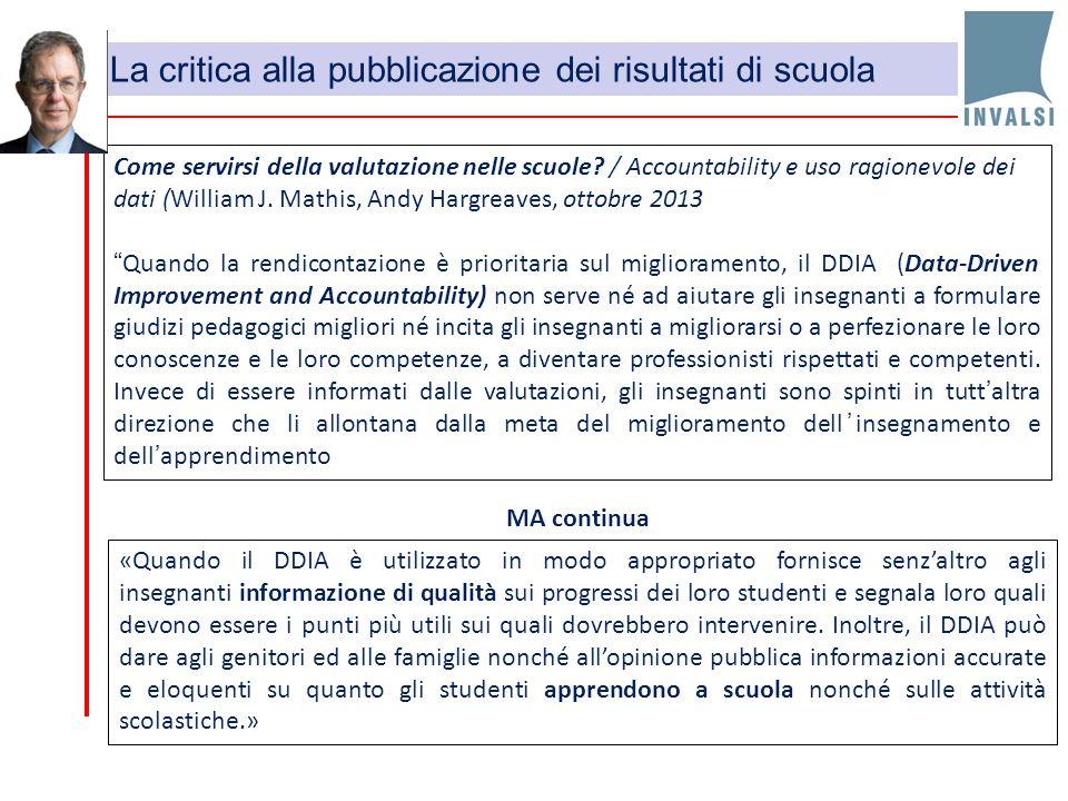 """Come servirsi della valutazione nelle scuole? / Accountability e uso ragionevole dei dati (William J. Mathis, Andy Hargreaves, ottobre 2013 """"Quando la"""