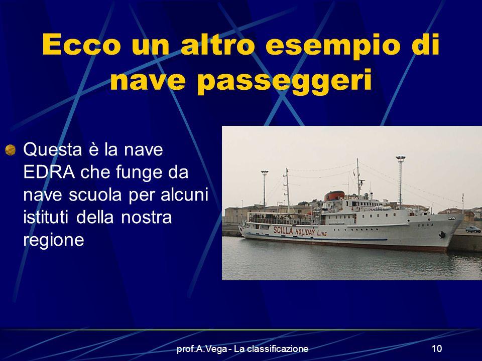 prof.A.Vega - La classificazione9 Un fascino particolare hanno le navi passeggeri Qui vediamo la CARNIVAL SPLENDOR (varata nell'aprile 2006), la RAFFA