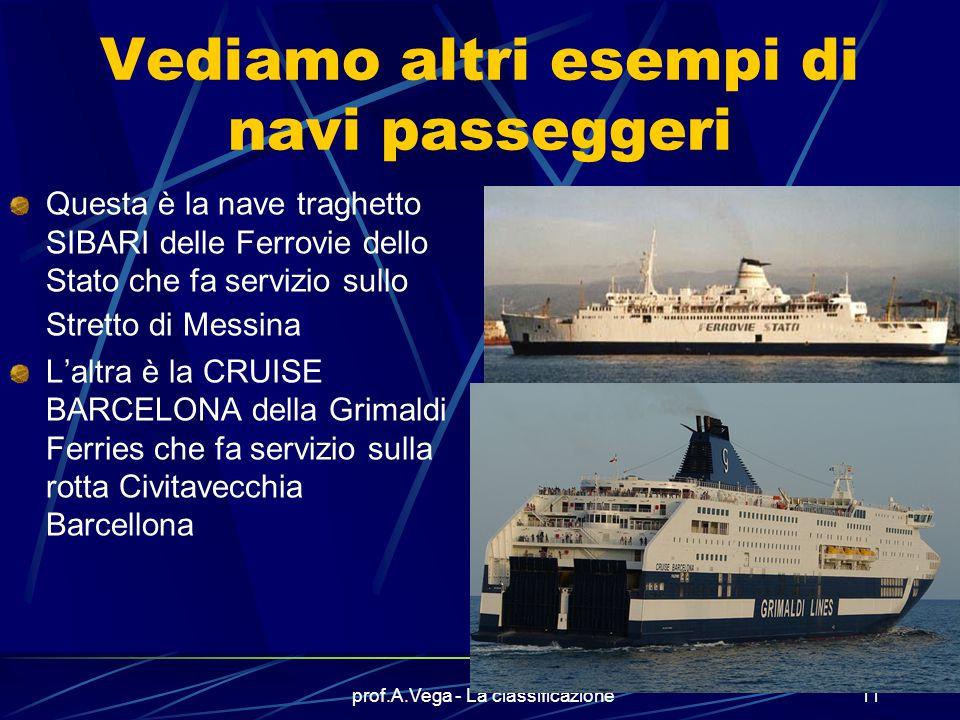 prof.A.Vega - La classificazione10 Ecco un altro esempio di nave passeggeri Questa è la nave EDRA che funge da nave scuola per alcuni istituti della n