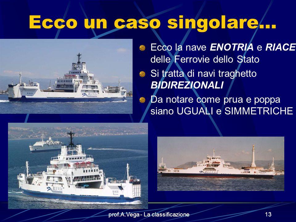 prof.A.Vega - La classificazione12 La nave traghetto è una nave speciale Il suo modo di attraccare alla banchina può essere particolare.. Il carico ac
