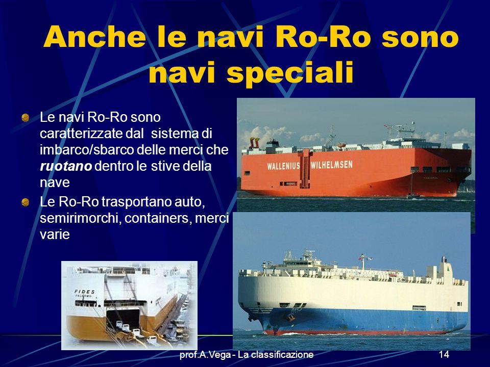 prof.A.Vega - La classificazione13 Ecco un caso singolare… Ecco la nave ENOTRIA e RIACE delle Ferrovie dello Stato Si tratta di navi traghetto BIDIREZ