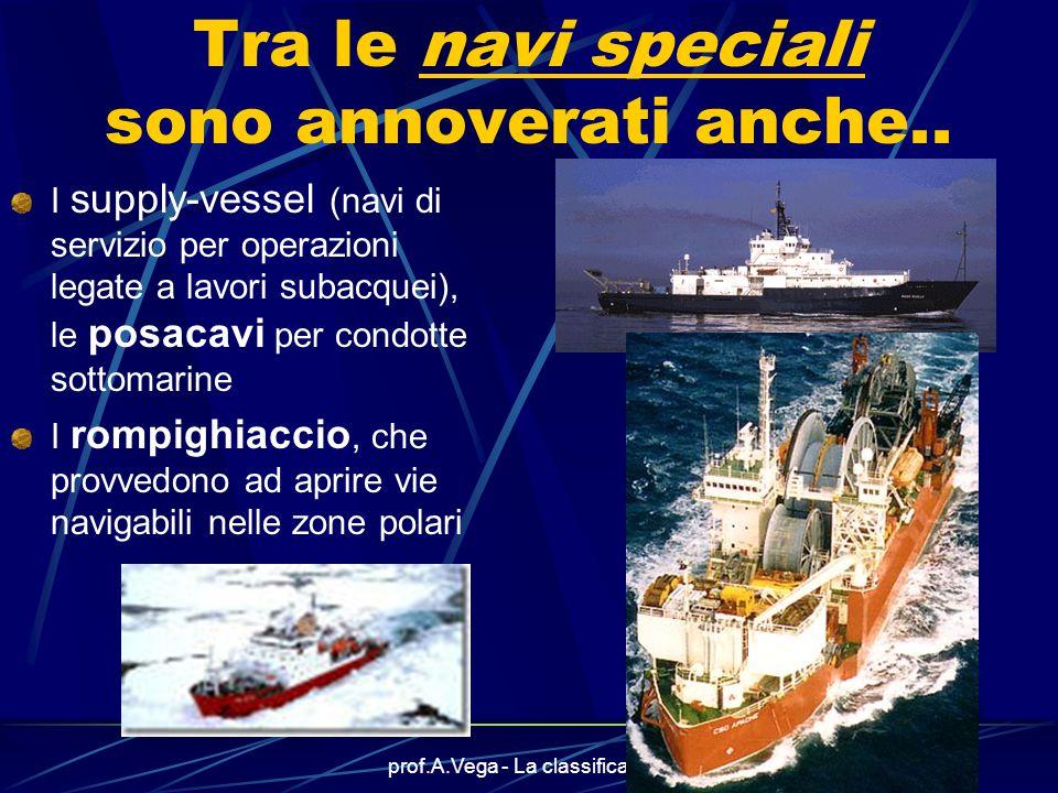 prof.A.Vega - La classificazione14 Anche le navi Ro-Ro sono navi speciali Le navi Ro-Ro sono caratterizzate dal sistema di imbarco/sbarco delle merci