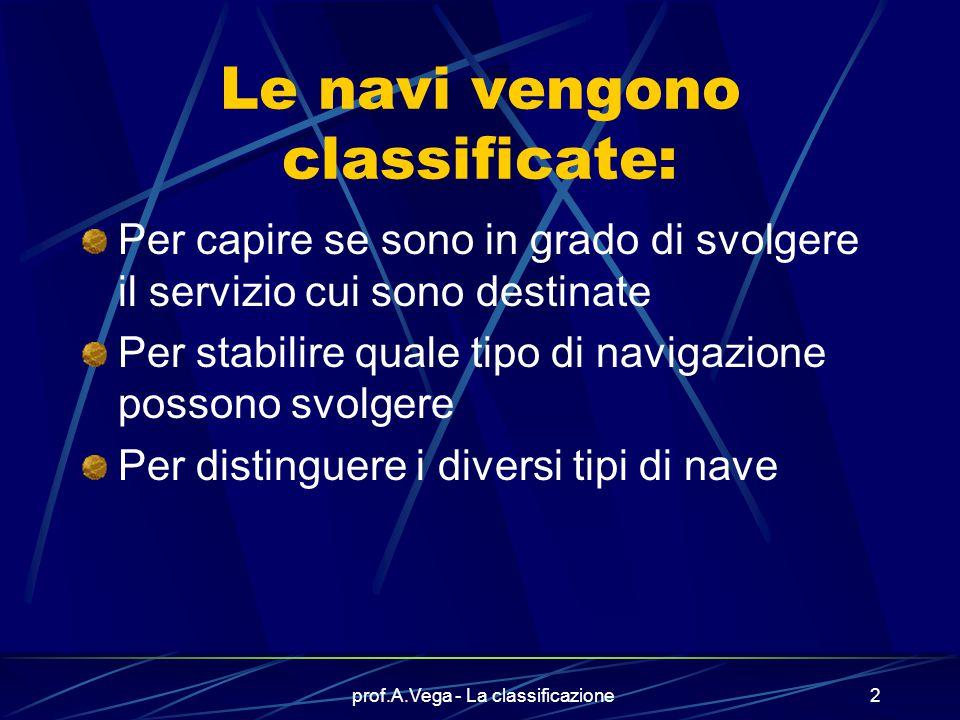prof.A.Vega - La classificazione2 Le navi vengono classificate: Per capire se sono in grado di svolgere il servizio cui sono destinate Per stabilire quale tipo di navigazione possono svolgere Per distinguere i diversi tipi di nave