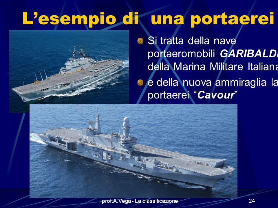 prof.A.Vega - La classificazione23 Ecco le navi militari i diversi tipi di navi militari hanno nomi che richiamano la loro funzione (incrociatori, fre