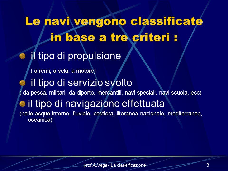 prof.A.Vega - La classificazione2 Le navi vengono classificate: Per capire se sono in grado di svolgere il servizio cui sono destinate Per stabilire q
