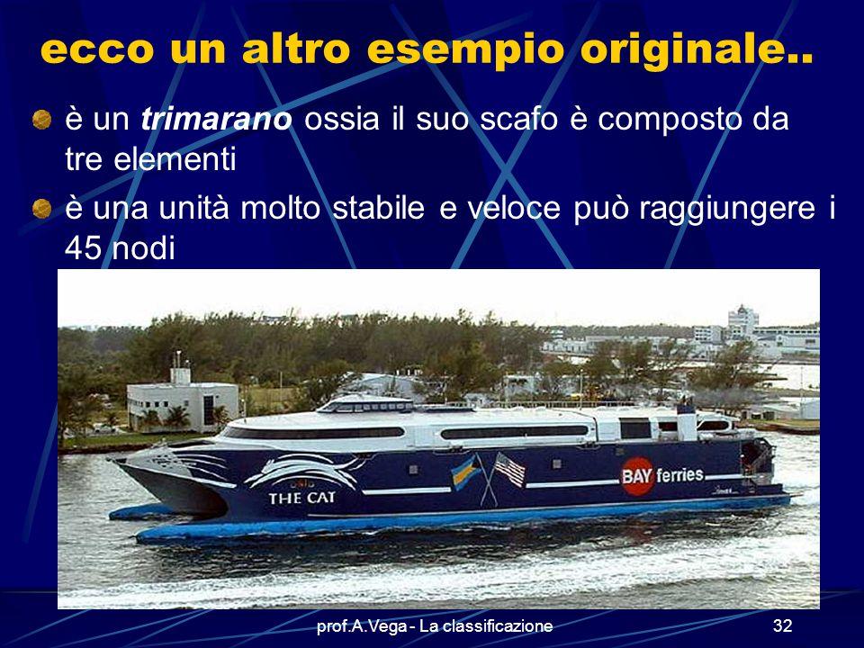 prof.A.Vega - La classificazione31 Esiste un numero infinito di tipi di navi Questo è il traghetto veloce GUIZZO della Tirrenia Si tratta di un HSV (H