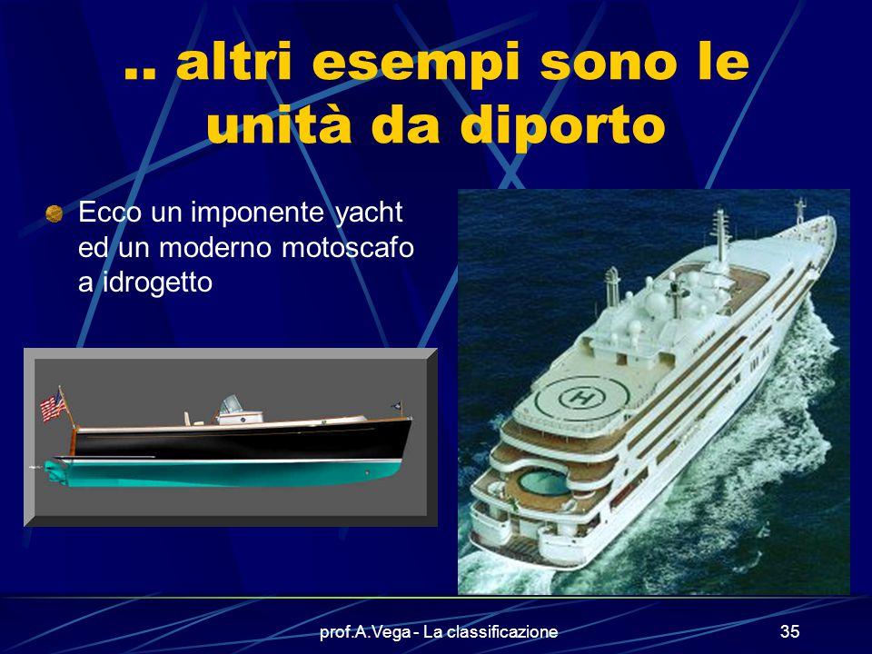 prof.A.Vega - La classificazione34 Alle alte velocità l'aliscafo plana sull'acqua ….. ma alle basse velocità naviga tradizionalmente