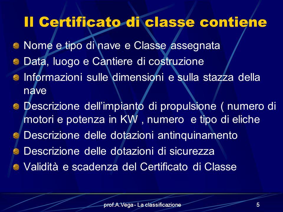 prof.A.Vega - La classificazione4 Chi si occupa della classificazione delle navi? Nel nostro paese questo compito è svolto dal R.I.Na. (Registro Itali