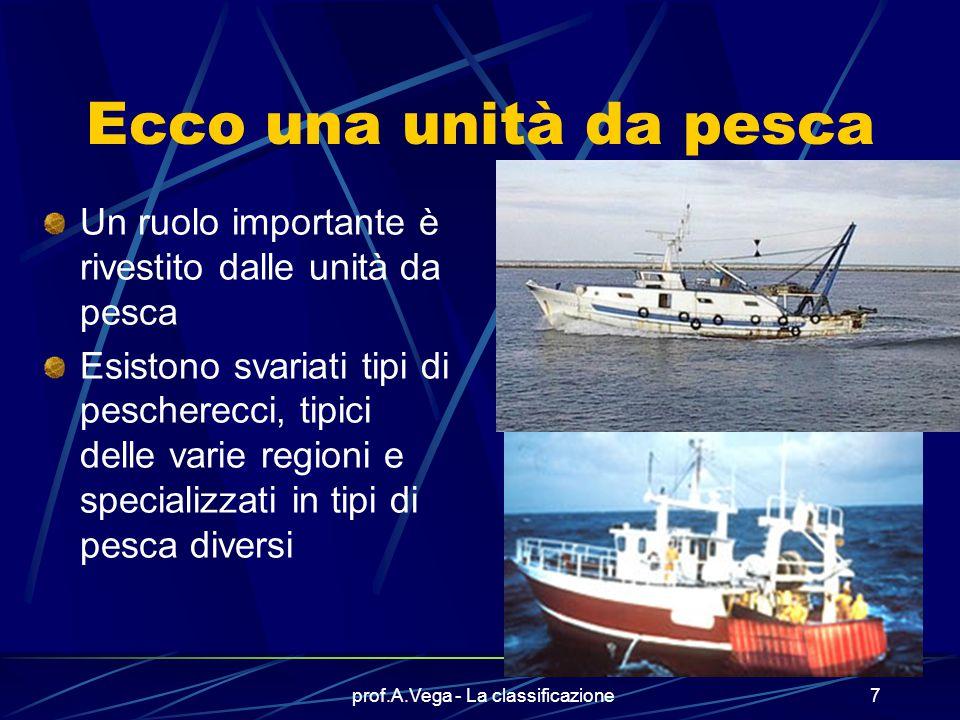prof.A.Vega - La classificazione7 Ecco una unità da pesca Un ruolo importante è rivestito dalle unità da pesca Esistono svariati tipi di pescherecci, tipici delle varie regioni e specializzati in tipi di pesca diversi