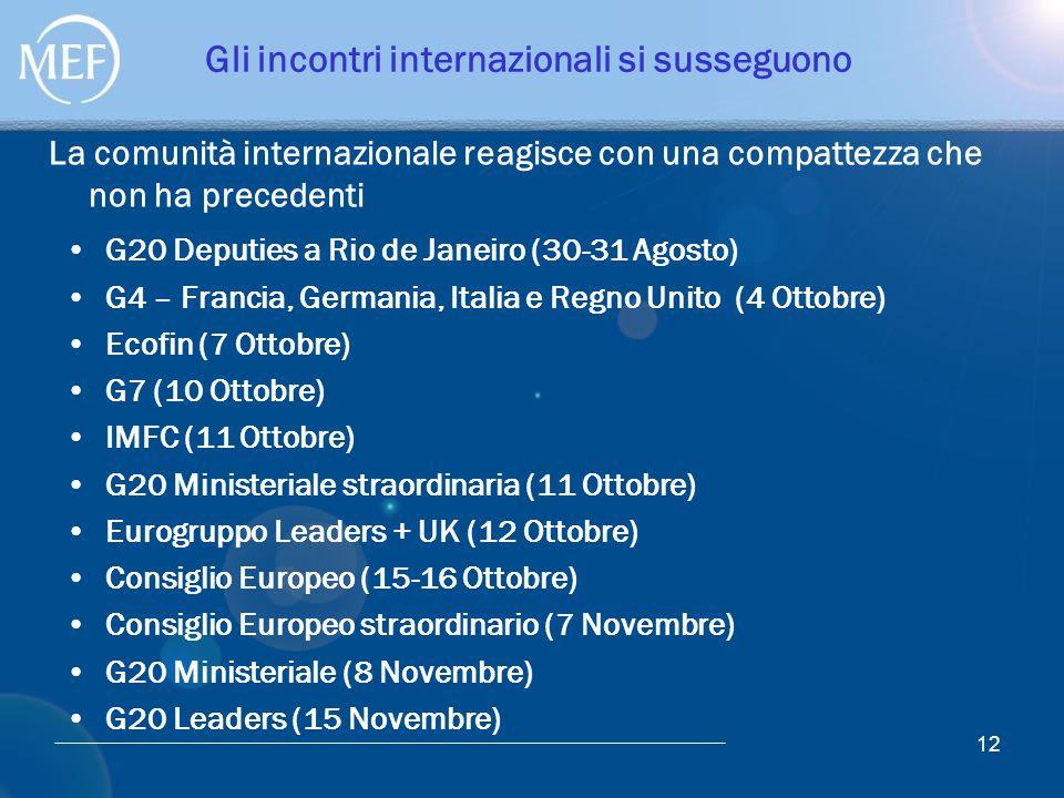 12 Gli incontri internazionali si susseguono G20 Deputies a Rio de Janeiro (30-31 Agosto) G4 – Francia, Germania, Italia e Regno Unito (4 Ottobre) Eco