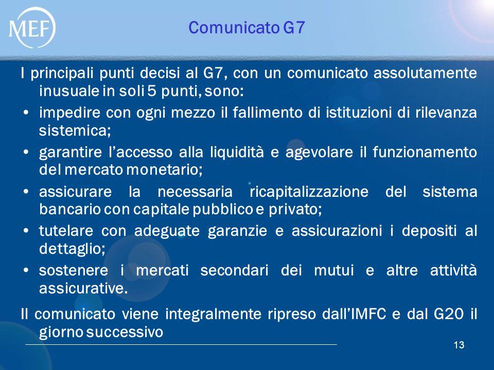 13 Comunicato G7 I principali punti decisi al G7, con un comunicato assolutamente inusuale in soli 5 punti, sono: impedire con ogni mezzo il falliment