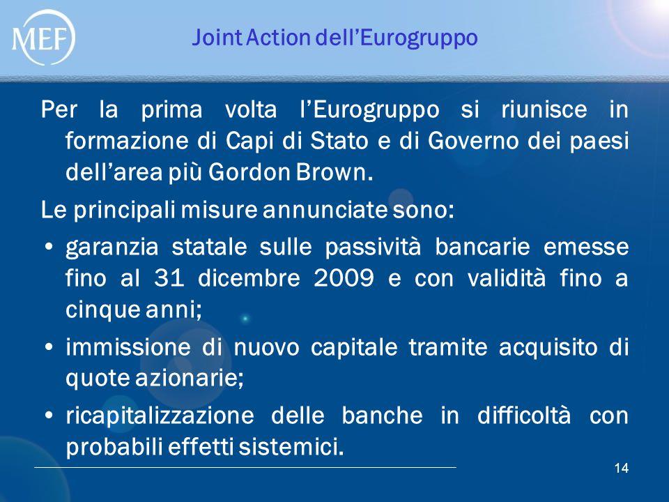 14 Joint Action dell'Eurogruppo Per la prima volta l'Eurogruppo si riunisce in formazione di Capi di Stato e di Governo dei paesi dell'area più Gordon