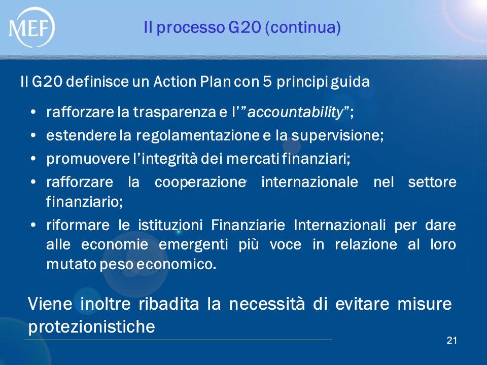 """21 Il processo G20 (continua) rafforzare la trasparenza e l'""""accountability""""; estendere la regolamentazione e la supervisione; promuovere l'integrità"""