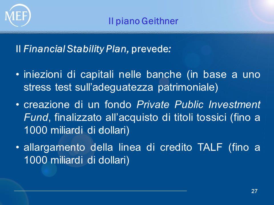 Il piano Geithner Il Financial Stability Plan, prevede: 27 iniezioni di capitali nelle banche (in base a uno stress test sull'adeguatezza patrimoniale