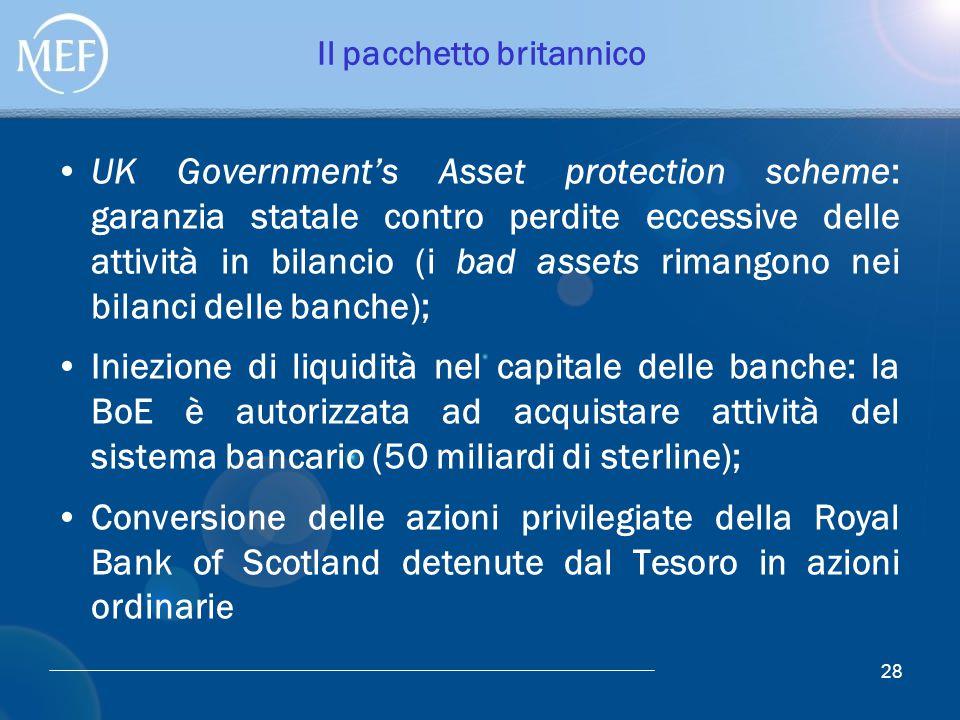 Il pacchetto britannico UK Government's Asset protection scheme: garanzia statale contro perdite eccessive delle attività in bilancio (i bad assets ri